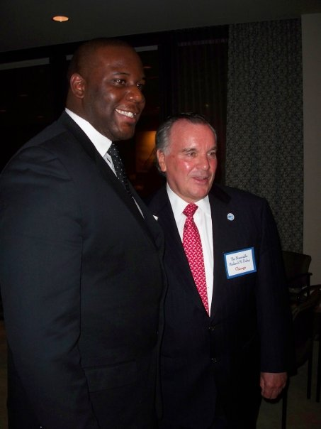 Brotha Aaron with former Chicago Mayor Richard M. Daley circa April 2009 at a UIC function