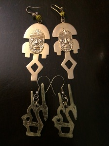 My new earrings from Kilimanjaro International in the Hyde Park neighborhood of Chicago