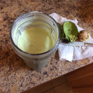 One of my green smoothies. I remember this one was delicious also. Something about when that lime juice hits that avocado. Yummm.